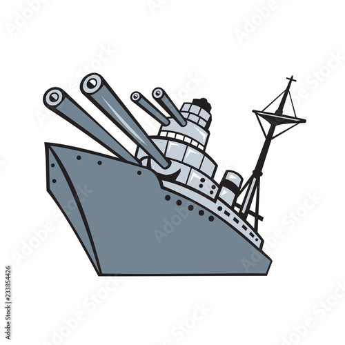 Cartoon Battleship With Big Guns Wallpaper Mural