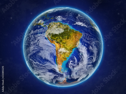 Fotografía  South America from space on realistic model of planet Earth with country borders and detailed planet surface and clouds
