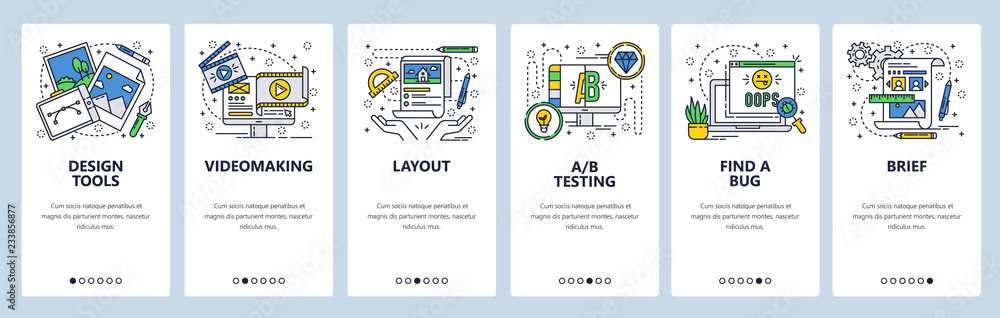 Vector web site linear art onboarding screens template. Graphic design and art, video production and testing. Menu banners for website and mobile app development. Modern design flat illustration.