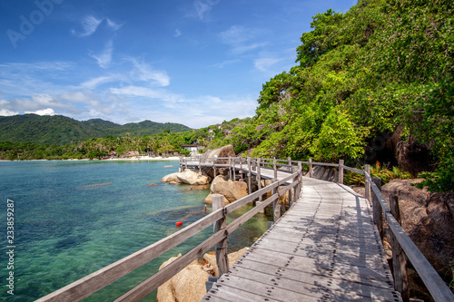 Photo  Bright beautiful tropical landscape, wooden walkway along the seashore