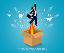 Think Outside The Box. Space Shuttle Launch To The Sky. On Background Blue. Start Up Business Concept. Creative Idea. Leadership. Cartoon Vector Art And Illustration