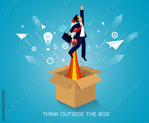 think outside the box. space shuttle launch to the sky. on background blue. start up business concept. creative idea. leadership. cartoon vector art and illustration Wall mural