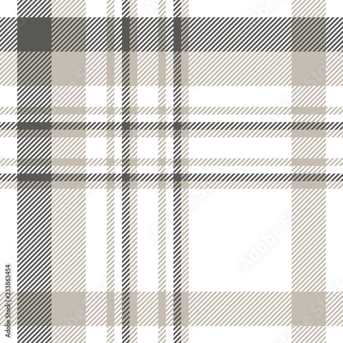 Plaid pattern in dark grey, light taupe and white. Canvas Print