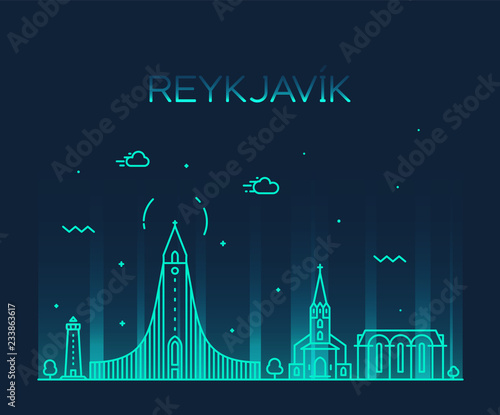 Fotografie, Tablou  Reykjavik city skyline Iceland vector linear style