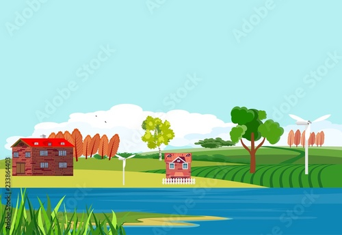 Countryside theme vector illustration, river, houses, village.