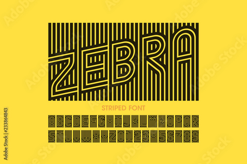 Striped font design, alphabet letters and numbers Fotobehang