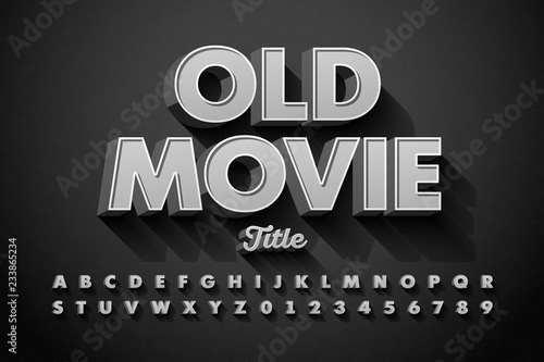 Retro style font, Old Movie title screen, alphabet letters and numbers Canvas Print