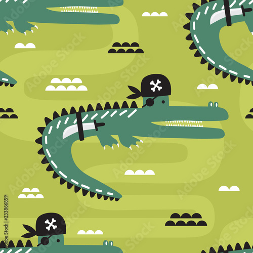 Crocodiles - pirates, hand drawn backdrop. Colorful seamless pattern with animals. Decorative cute wallpaper, good for printing. Overlapping background vector. Design illustration