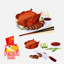 Peking Duct . Chinese Cuisine Concept. Food Elements. Typographic Or Logo Design - Vector