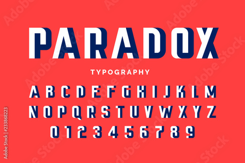 Cuadros en Lienzo Impossible shape font design, alphabet letters and numbers