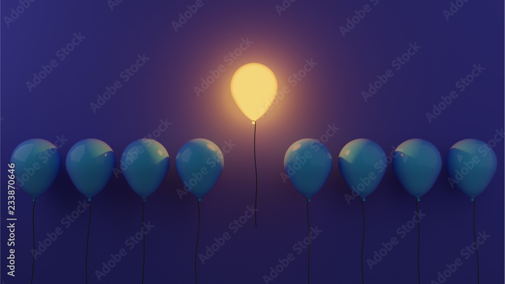Fototapety, obrazy: Stand out concept with glowing balloons