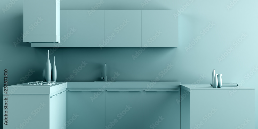 Fototapeta Interior Kitchen Background in Minimalist Monochrome Style