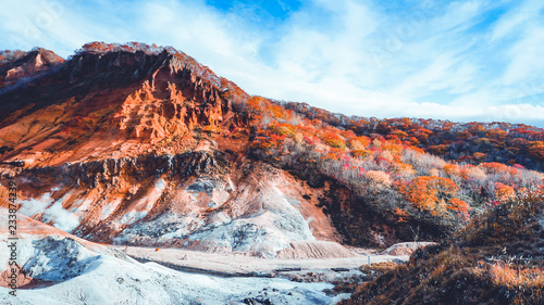 Deurstickers Chocoladebruin Autumn season at noboribetsu volcano in Hokkaido Japan