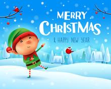 Merry Christmas! Little Elf Greets In Christmas Snow Scene Winter Landscape.
