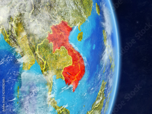 Foto  Indochina on planet planet Earth with country borders
