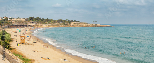 Fotobehang Kust Panoramic view of the Tarragona beach, Costa Dorada seaside