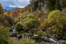 The River Barman And The Canin Mount On Autumn Colors, Resia Valley, Friuli Venezia Giulia, Italy.