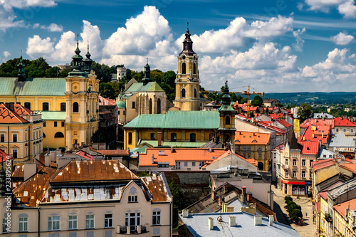 Obraz  Przemysl Cathedral and the Old Town, viewed from the Clock Tower. 29-07-2016 - fototapety do salonu