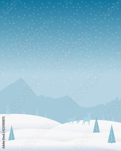 Winter background. Christmas holiday landscape with mountains, snowdrifts, deer, pines and snowflakes. Vector illustration for decoration of postcards, posters, etc. - 233900875
