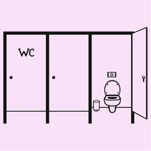Public Toilet Cubicle Vector Silhouette Isolated
