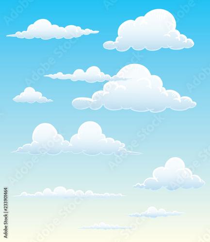 Foto op Plexiglas Hemel Cartoon cloud vector set. Blue sky with white clouds