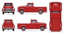 Classic Red Pickup Truck Vector Mockup