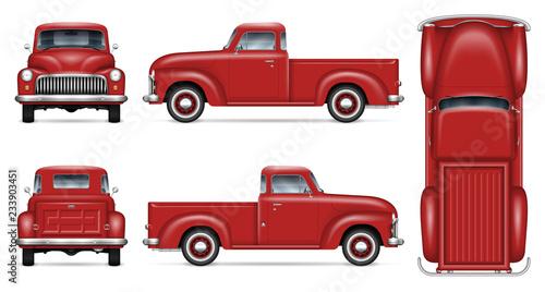 Makieta klasyczna czerwona furgonetka wektor