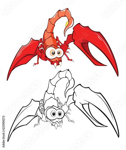 Red crab cartoon. Coloring Book.