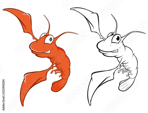 Tuinposter Babykamer Vector Illustration of a Cute Red Shrimp Cartoon Character. Coloring Book