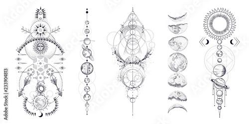 фотография  Vector illustration set of moon phases