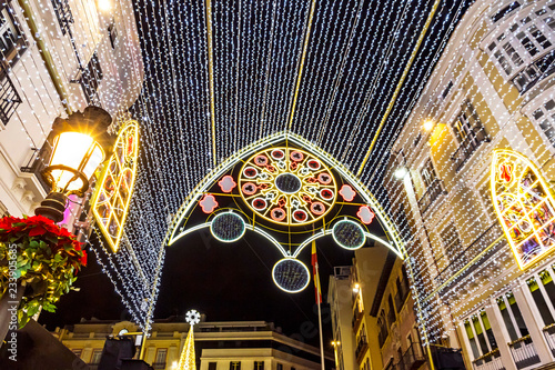 Christmas decorations on the streets of Malaga city, Andalusia, Spain