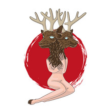Nude Woman With A Deer Head. Siamese Twins. Mystical Creatures, Witchcraft, Vezma. Tattoo Sketch. Vector
