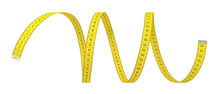 3d Rendering Of A Single Yellow Strip Of Measuring Tape On A White Background.