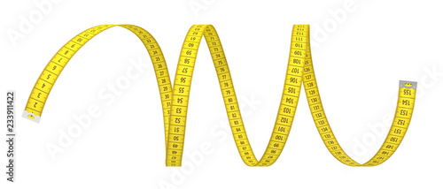 Fotografia 3d rendering of a single yellow strip of measuring tape on a white background