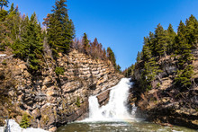 Cameron Falls In The Late Spring, Waterton Lake National Park, Alberta, Canada
