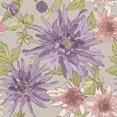 FototapetaVector seamless pattern with flowers and leaves. Autumn floral texture. Hand drawn botanical vector illustration with dahlia, aster flowers and wildflowers.