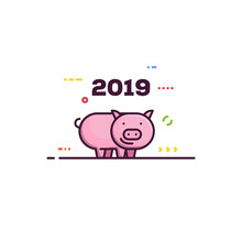 Line Style New Year Pig. 2019 Chinese Year Of The Pig. Happy Pink Piggy Smiling. Abstract Elements And Lines.