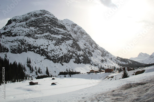 Nice Mountain Valley in the Austrian Alps at Winter
