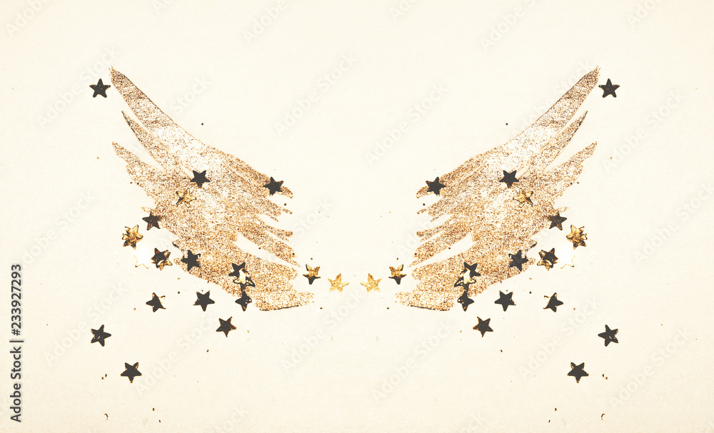 Foto-Leinwand ohne Rahmen - Golden glitter and glittering stars on abstract watercolor wings in vintage nostalgic colors.