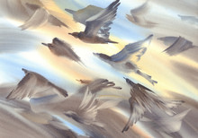 A Flock Of Birds Flying Watercolor Background