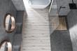 Gray bathroom top view