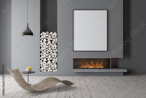 Fotografie, Obraz  Gray fireplace with wooden armchair, poster