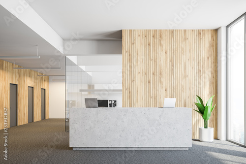 Concrete reception in wooden office Fototapeta