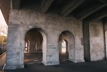 Asphalt Empty Parking Under The Bridge In The Evening
