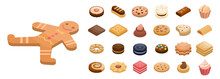 Cookies Icon Set. Isometric Set Of Cookies Vector Icons For Web Design Isolated On White Background