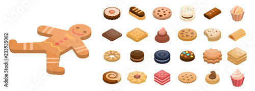 Cookies icon set Fotobehang