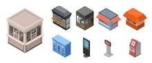 Street Shop Kiosk Icon Set. Isometric Set Of Street Shop Kiosk Vector Icons For Web Design Isolated On White Background