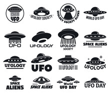 UFO Flying Logo Set. Simple Se...