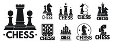 Chess Game Logo Set. Simple Set Of Chess Game Vector Logo For Web Design On White Background