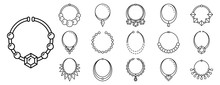 Necklace Jewelry Icon Set. Outline Set Of Necklace Jewelry Vector Icons For Web Design Isolated On White Background